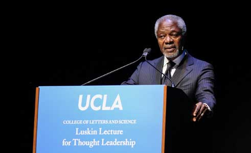man giving speech at ucla luskin conference center and hotel