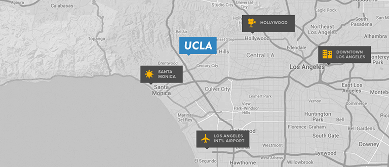 ucla luskin conference center and hotel on a map