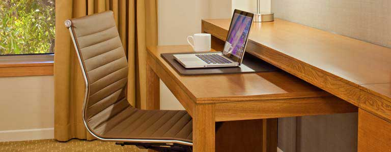 slider desk in room at ucla luskin conference center and hotel