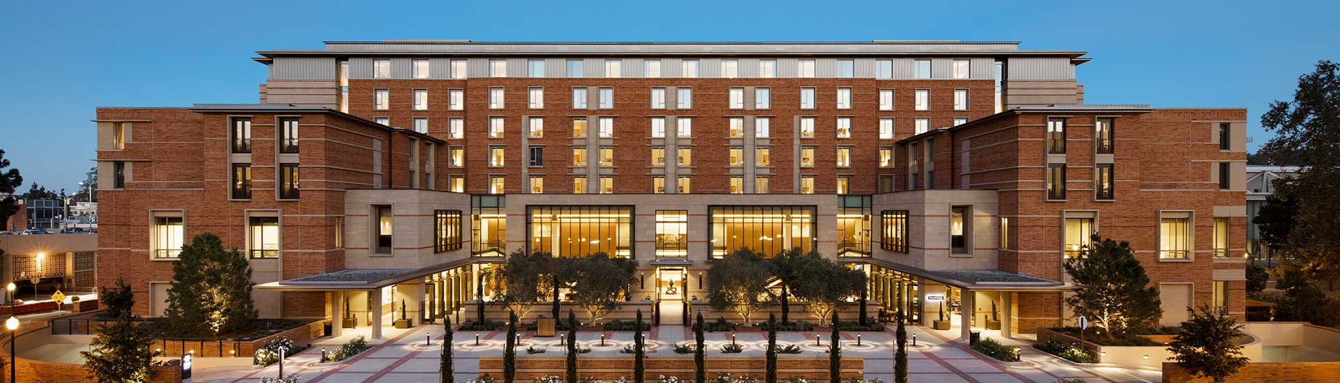 front facing view of ucla luskin conference center and hotel