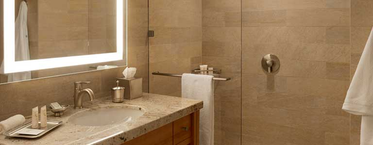 luxury bathroom at ucla luskin conference center and hotel